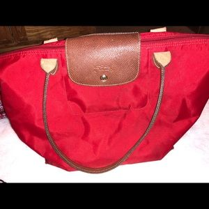 Red longchamp tote